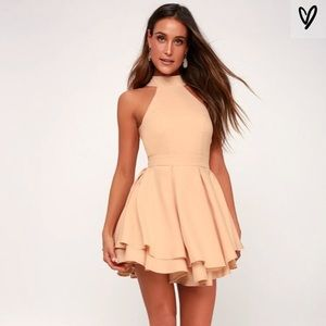 Lulus nude/peach Skater formal dress